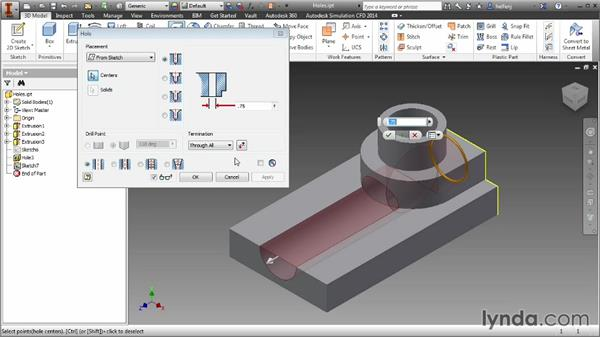Adding holes to a part model: Inventor 2014 Essential Training