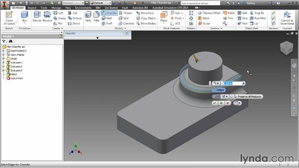 Modifying edges with fillets and chamfers: Inventor 2014 Essential Training