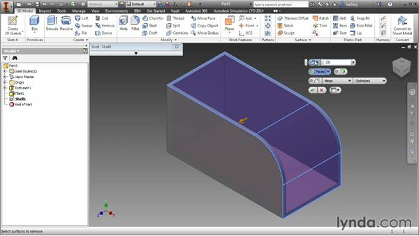 Hollowing parts with the shell feature: Inventor 2014 Essential Training