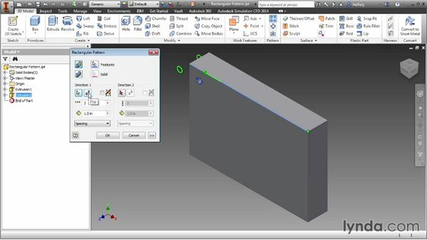 Creating rectangular feature patterns: Inventor 2014 Essential Training
