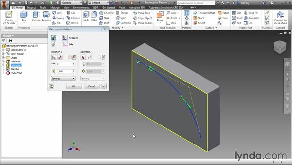 Creating rectangular feature patterns along a path: Inventor 2014 Essential Training