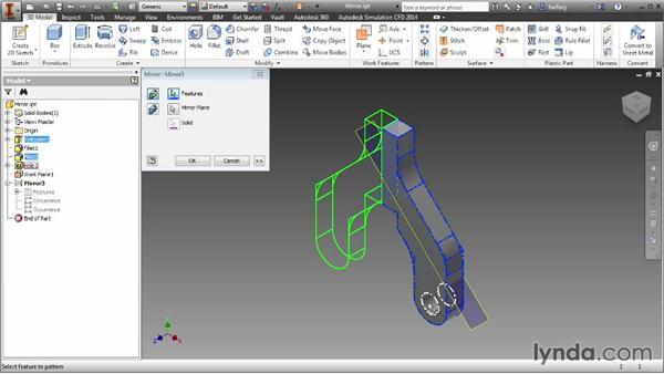 Mirroring part features: Inventor 2014 Essential Training