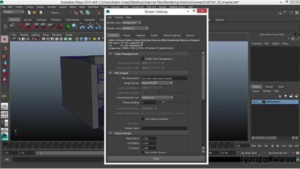 Changing the rendering engine: Rendering Interiors in Maya