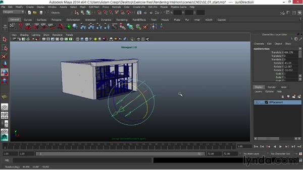Creating the daylight system and positioning the sun: Rendering Interiors in Maya
