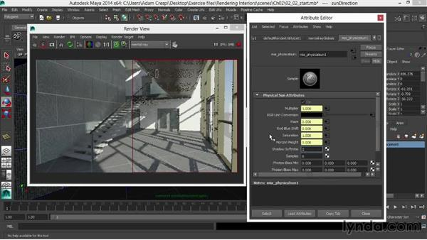 Softening the sun and shadows: Rendering Interiors in Maya