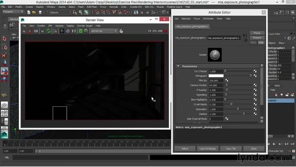 Adjusting the photographic exposure for stylized imagery: Rendering Interiors in Maya