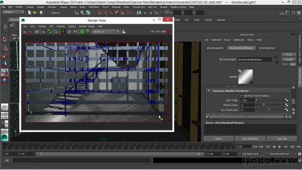 Creating a low sun with a directional light: Rendering Interiors in Maya