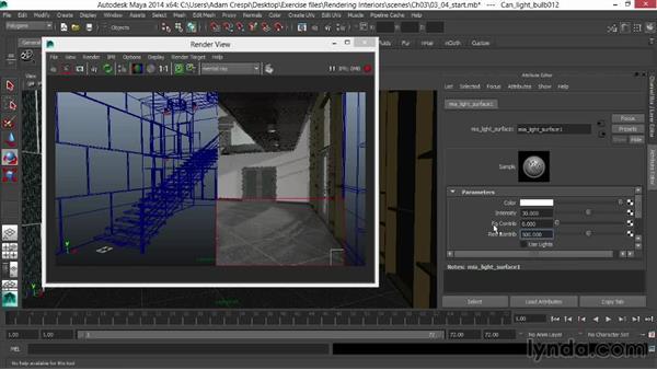 Adjusting luminous and lit surfaces: Rendering Interiors in Maya