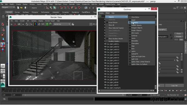 Fine-tuning photographic exposure for dusk: Rendering Interiors in Maya