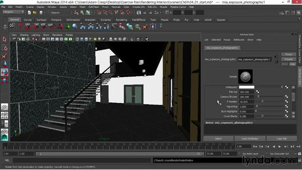 Adding the Physical Sky shader and photographic exposure: Rendering Interiors in Maya