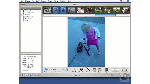 Automatic Corrections with Enhance: iPhoto 5 Essential Training