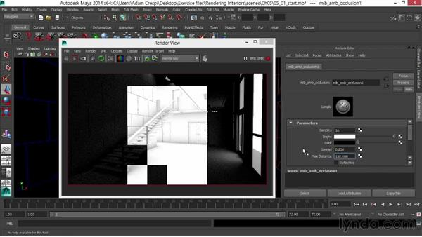 Creating an ambient-occlusion override material: Rendering Interiors in Maya