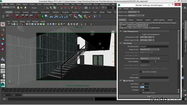 Caching the final gather and rendering the image passes: Rendering Interiors in Maya