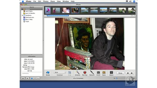 Removing Redeye: iPhoto 5 Essential Training
