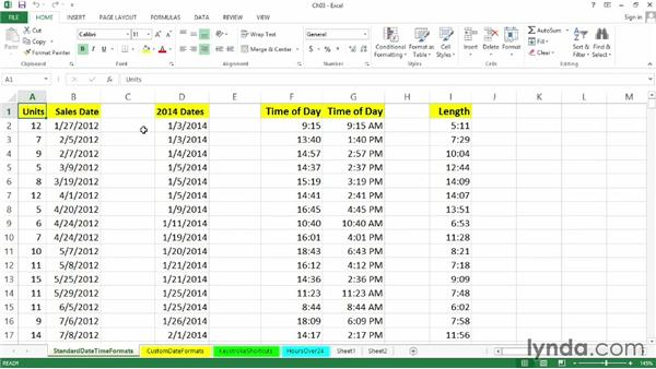 Using the exercise files: Excel 2013: Working with Dates and Times