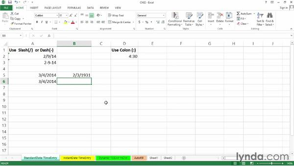 Standard date- and time-entry options and acceptable alternatives: Excel 2013: Working with Dates and Times