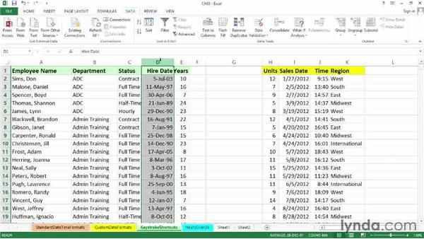 Keystroke shortcuts: Excel 2013: Working with Dates and Times