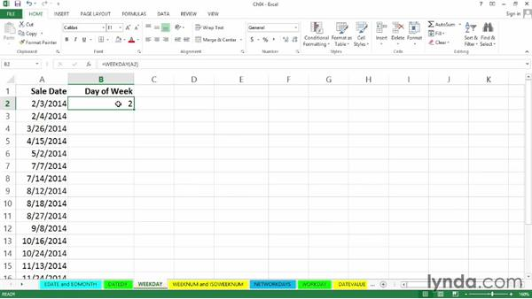 WEEKDAY: Day-of-week determination: Excel 2013: Working with Dates and Times