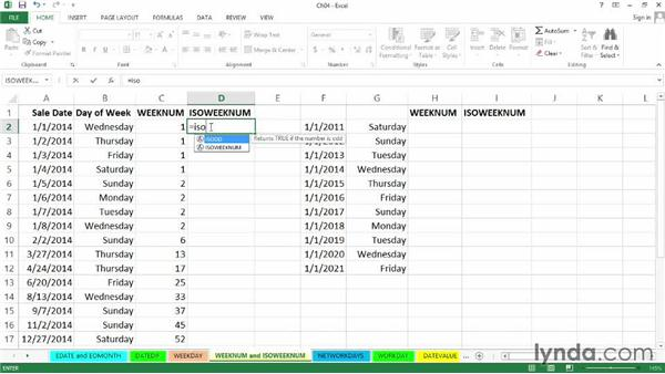 Calculating week numbers with WEEKNUM and ISOWEEKNUM: Excel 2013: Working with Dates and Times