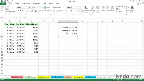 Calculating time differences within and between days: Excel 2013: Working with Dates and Times