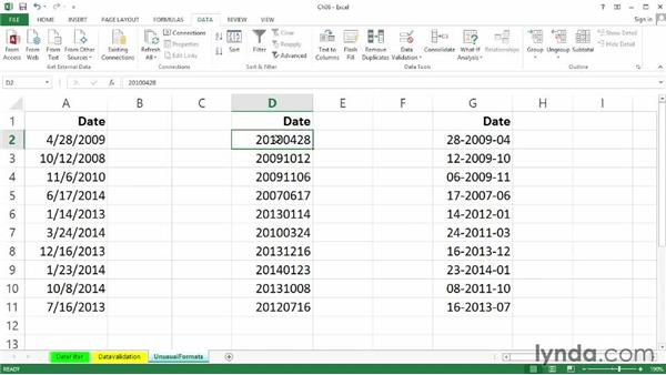 Converting unusually formatted dates into usable data: Text to columns: Excel 2013: Working with Dates and Times