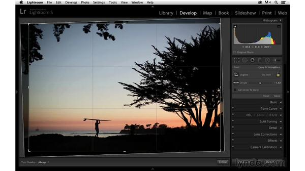 Leveling and cropping the photograph: Enhancing a Sunset Photograph with Lightroom and Photoshop