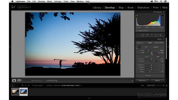 Creating and processing a virtual copy: Enhancing a Sunset Photograph with Lightroom and Photoshop