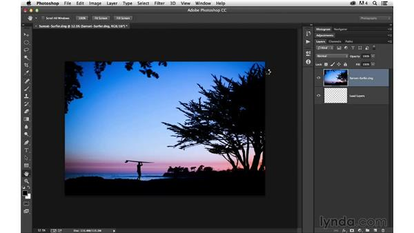 Opening two images as layers in Photoshop: Enhancing a Sunset Photograph with Lightroom and Photoshop