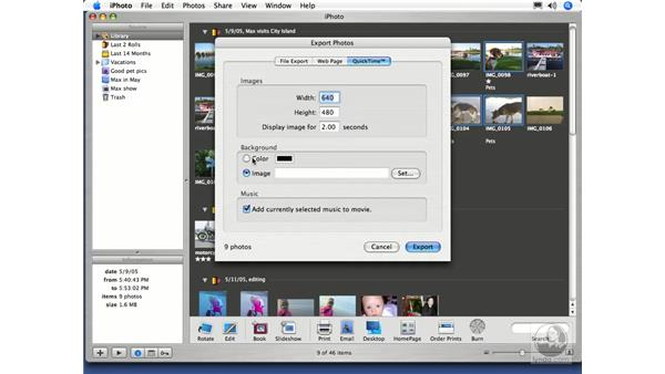 Exporting a Slideshow to QuickTime: iPhoto 5 Essential Training