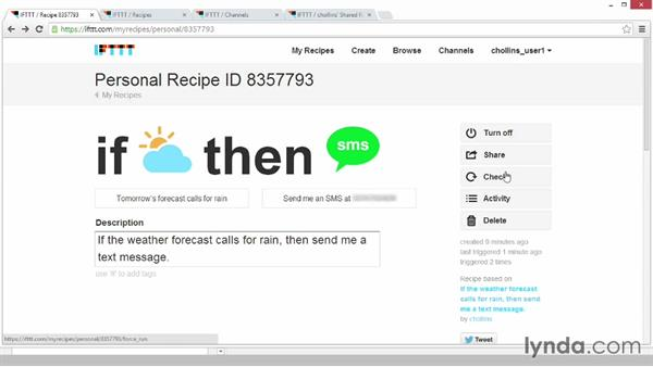 Managing your new recipe: Up and Running with IFTTT