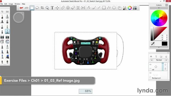 Importing a reference image: Sketching an F1 Wheel with SketchBook Pro
