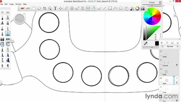 Drawing the base of a button: Sketching an F1 Wheel with SketchBook Pro