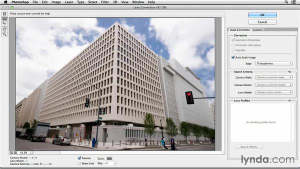 Lens Correction: Auto and manual: Working with Perspective in Photoshop