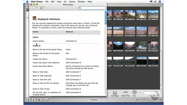 iPhoto Keyboard Shortcuts: iPhoto 5 Essential Training