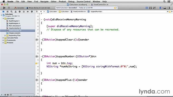 Displaying tapped numbers in the calculator: Programming for Non-Programmers: iOS 7