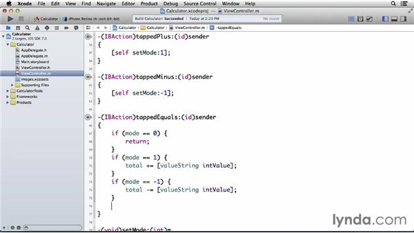 Showing the total when the equals button is tapped: Programming for Non-Programmers: iOS 7