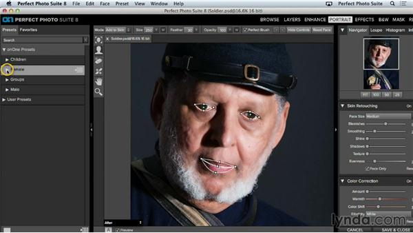 Working with portrait presets: Up and Running with Perfect Photo Suite 8