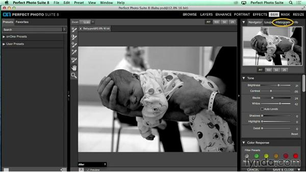 Creating a black-and-white image from a color image: Up and Running with Perfect Photo Suite 8