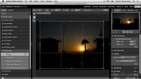 Resizing images for the web and digital distribution: Up and Running with Perfect Photo Suite 8