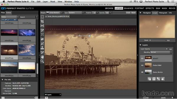 Solution: Creating a vintage postcard from a new image: Up and Running with Perfect Photo Suite 8