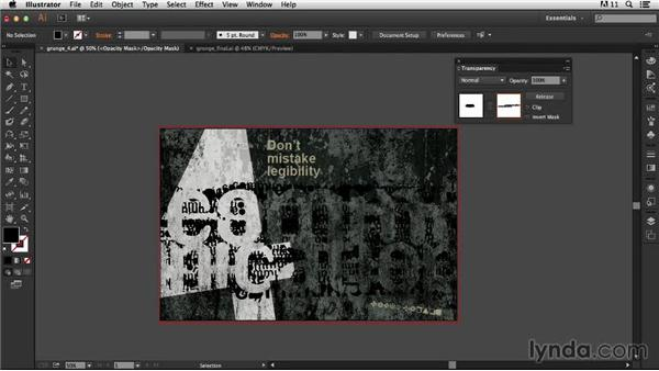 Adding the opacity mask: Type Project: Grunge Poster