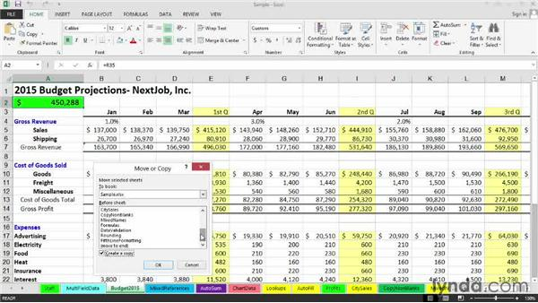 Copying and moving sheets within a workbook: Excel 2013: Managing Multiple Worksheets and Workbooks