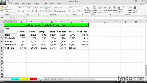 Changing tab colors and renaming sheets: Excel 2013: Managing Multiple Worksheets and Workbooks