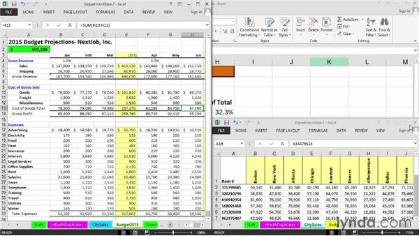 Displaying multiple worksheets of the same workbook: Excel 2013: Managing Multiple Worksheets and Workbooks