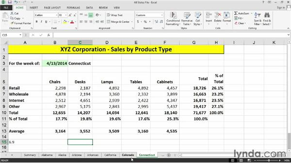 Selecting adjacent or nonadjacent sheets: Excel 2013: Managing Multiple Worksheets and Workbooks
