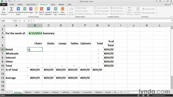 Creating 3D formulas for worksheets with identical layouts: Excel 2013: Managing Multiple Worksheets and Workbooks