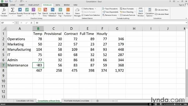 Summarizing data from multiple workbooks with PivotTables or consolidation: Excel 2013: Managing Multiple Worksheets and Workbooks