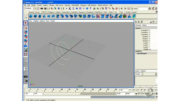 Creating Surfaces: Loft: Maya 6.5 Essential Training
