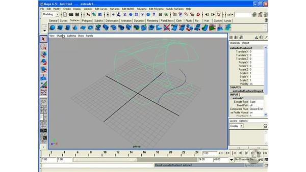 Creating Surfaces: Extrude: Maya 6.5 Essential Training
