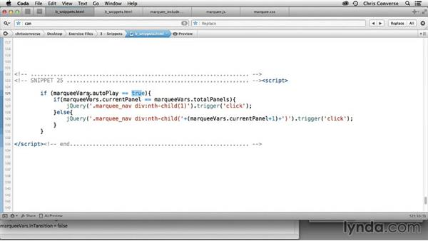 Assigning click events to the navigation: Creating a Marquee in WordPress with jQuery